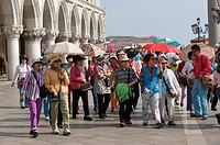 Italy, Veneto, Venice, multiethnic tourists in Saint Mark Square