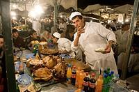 Morocco, Marrakech. Jemaa el Fna square, Restaurant.