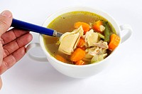 Chicken soup with carrots and beans