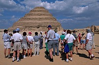 Africa, Egypt, the Sakkara pyramid and tourist group