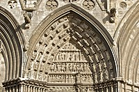 North portal tympanum featuring the Passion of Christ, Western façade of Notre Dame cathedral, Bayeux, Calvados, Lower Normandy, France