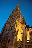 Tower detail, exterior of Norman-Gothic Notre Dame cathedral at night, Bayeux, Calvados, Lower Normandy, France