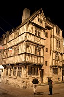 Half-timbered house (14th century) at night in the corner of Cuisiniers and St Martin streets: it´s one of the most ancient houses in Normandy, a form...