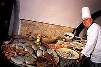 Italy,South,Puglia region, Ostuni village, typical fish restaurant