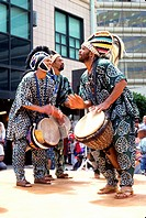 West African Dance Show men drummers downtown Oakland California