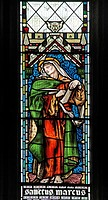A stained glass window BY Edward Burne-Jones, depicting Saint Mark the Evangelist, St Andrew's Church, Stratton, Cornwall