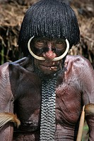 Indonesia, Irian Jaya, Baliem Valley, Dani tribe old man