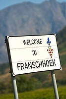 'Welcome to Franschhoek' sign, Western Cape Province, South Africa