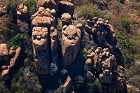 Aerial photograph of rocks in the bushveld of Makolokwe, North West Province, South Africa