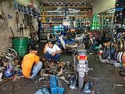 Inside a bike repair shop in Chow Kit, Kuala Lumpur, Malaysia