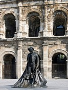 France, Languedoc Roussillon, Nimes, the Arena, Torero Statue.
