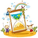 Children trying to stop the time period of changing green landscape to barren land