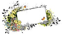 Rectangular frame with flora elements