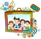 Family portrait photo on suitcase