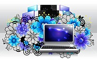 Laptop with flora design