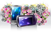 Mobile phone with flora design (thumbnail)