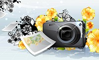 Photo camera and photo, with flora design