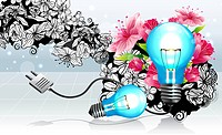 Light bulb with flora design