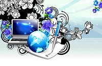 Laptop and globe with flora design