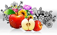 Apple fruits with flora design