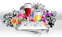 Refreshment beverage in glass with flora design