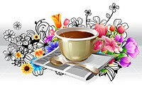 Tea Cup and newspaper with flora design