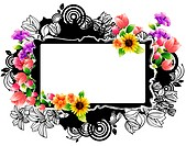 Rectangular frame with flora design