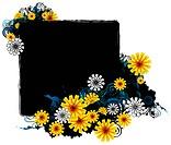 square frame with flora design
