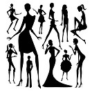 Set of silhouette of the woman in different dress isolated on white background