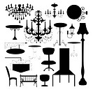 Set of silhouette of luxury chair, sign board and different type of lamp