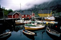 Norway, Lofoten Islands, Sund Village, Boats