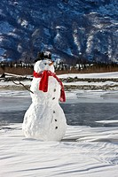 Snowman with a red scarf and black top hat sitting on the frozen Nenana River with the Alaska Range foothills in the background, Southcentral Alaska, ...