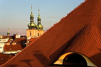 Housetops and beeltowers of Havel church Prague  Czech Republic