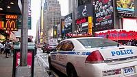 Police cruiser on 7th Avenue. Times Square. Theater District. Manhattan. New York, New York. USA