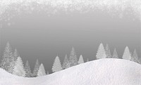 Winter Christmas background. In the lower part of the snow_covered hills with silhouettes of spruce trees. At the top of the clouds of snow flakes. Gr...