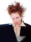 Angry crazy Business woman with a laptop