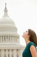Girl by united states capitol building