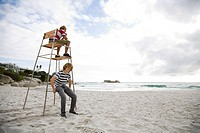 Two boys on lifeguard tower