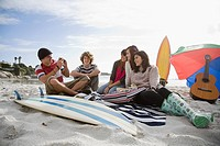 Friends on beach with surfboard