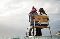 Two girls on lifeguard tower