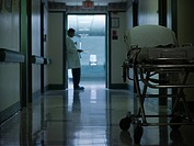 Male doctor in hospital corridor
