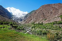 Pakistan - Karakorum mountains - the icy peak of Rakaposhi mountain