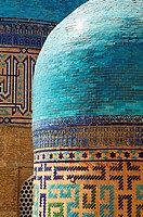 Uzbekistan - Samarkand - domes at the Shah-i-Zindi, avenue of mausoleums