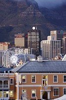 Victoria and Alfred Waterfront and City Bowl at dawn, Cape Town, Western Cape, South Africa
