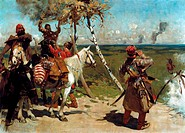 At the Southern Border´ of Muscovy, 1888. Oil on canvas. Sergei Ivanov 1864–1910 Russian painter. From 16th to 18th centuries Crimean Tartars repeated...