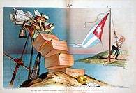 Spanish_American War 1898. Spain lost her empire and United States became regional power in South America and the Caribbean. Cartoon showing Theodore ...