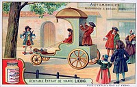 History of the Automobile: Pedal_driven carriage, 1690. The passenger sat in front guiding the vehicle with ropes on front wheels while the servant st...