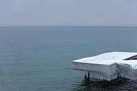 Dock covered in ice and snow