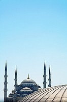 Turkey - Istanbul - the Blue Mosque seen over a dome of the Hagia Sophia Museum