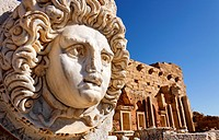 Sculpted Medusa head at the Forum of Severus, Leptis Magna, Libya